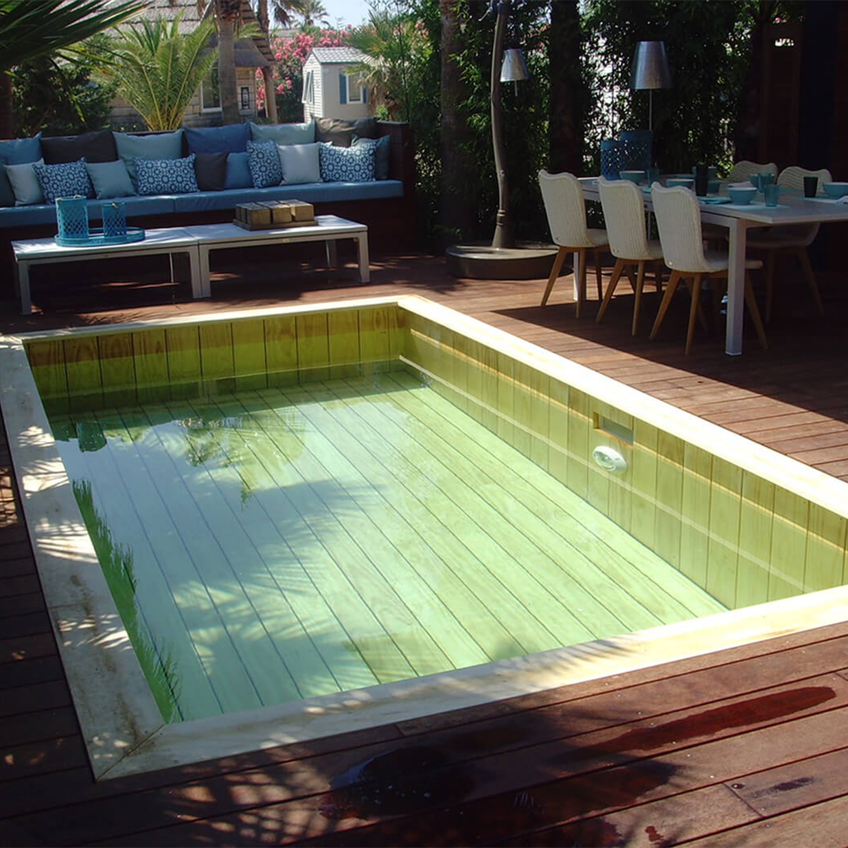 Swimming pool made out of Accoya wood