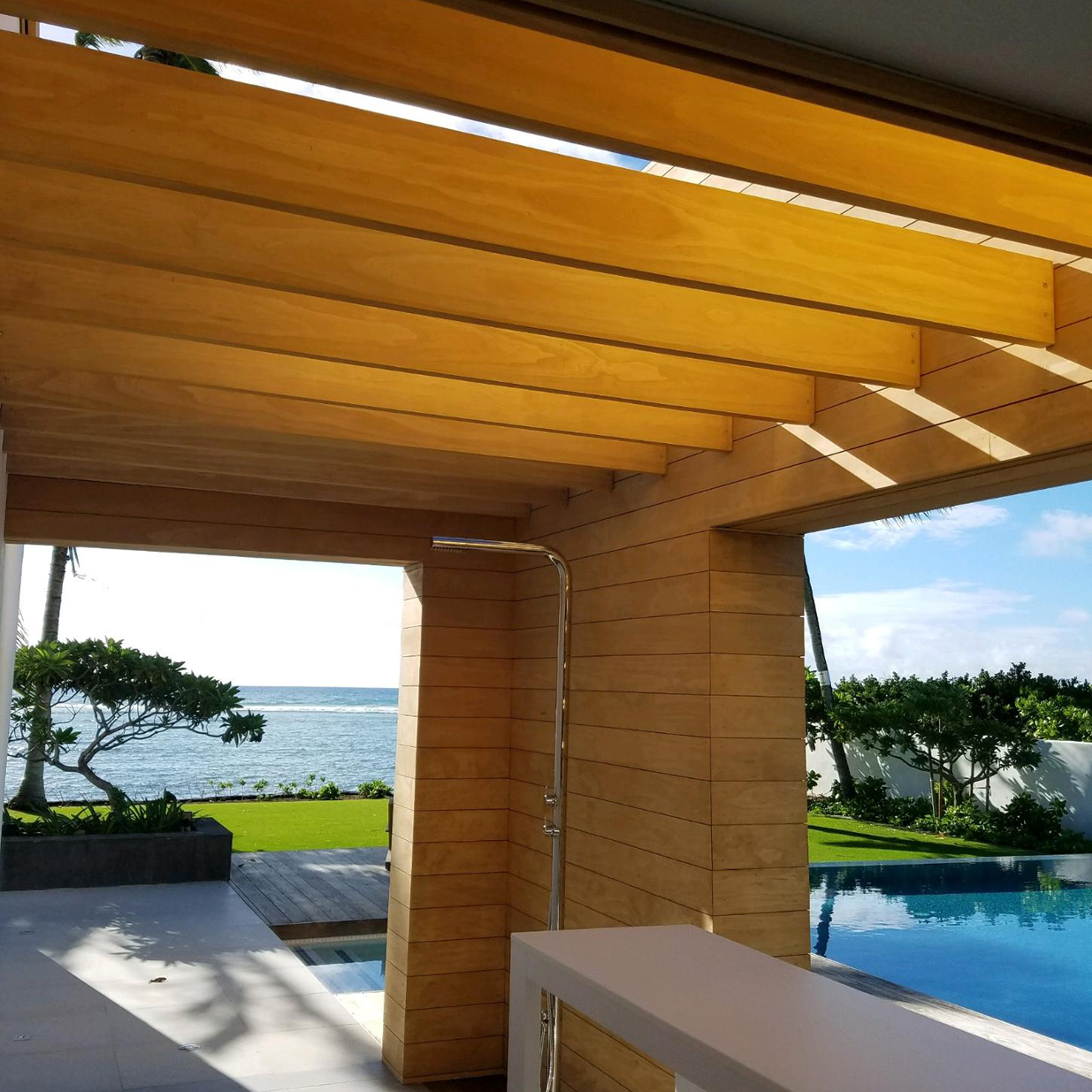 Accoya stands out on this mid century high end home