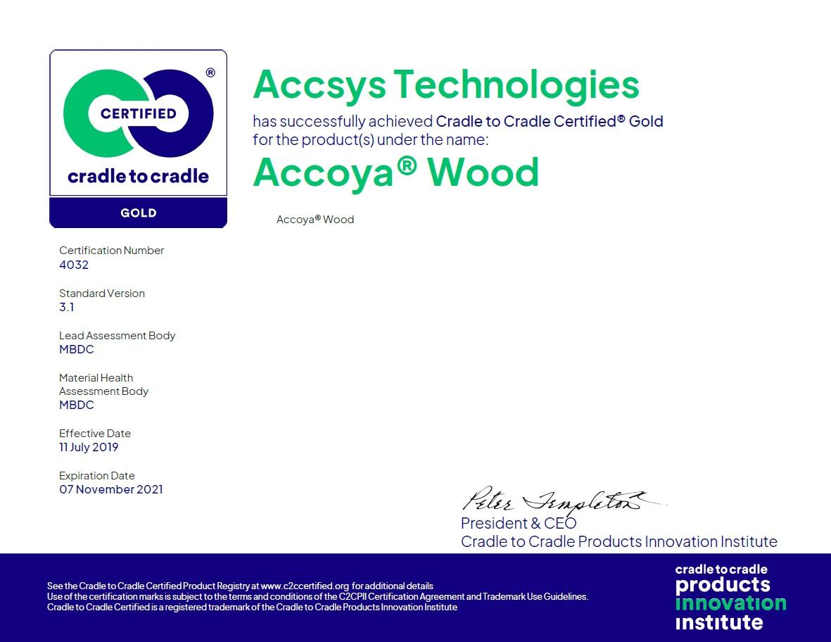 Accoya C2C Gold Certification