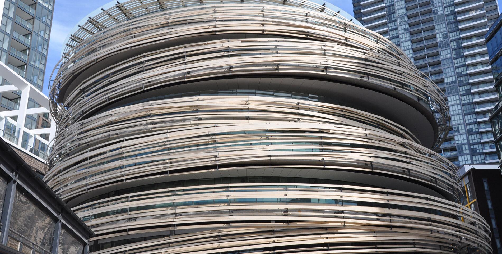 Accoya wood wrapped around the Darling Exchange, Sydney.