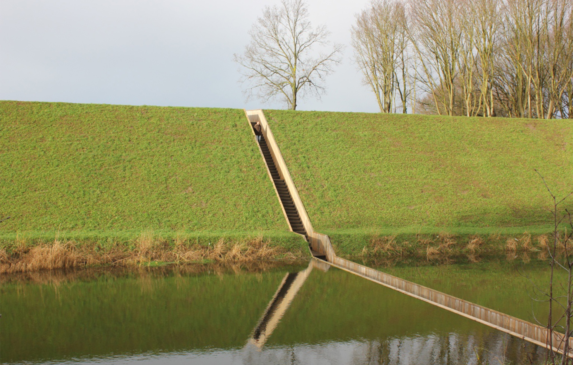 Moses bridge with water either side