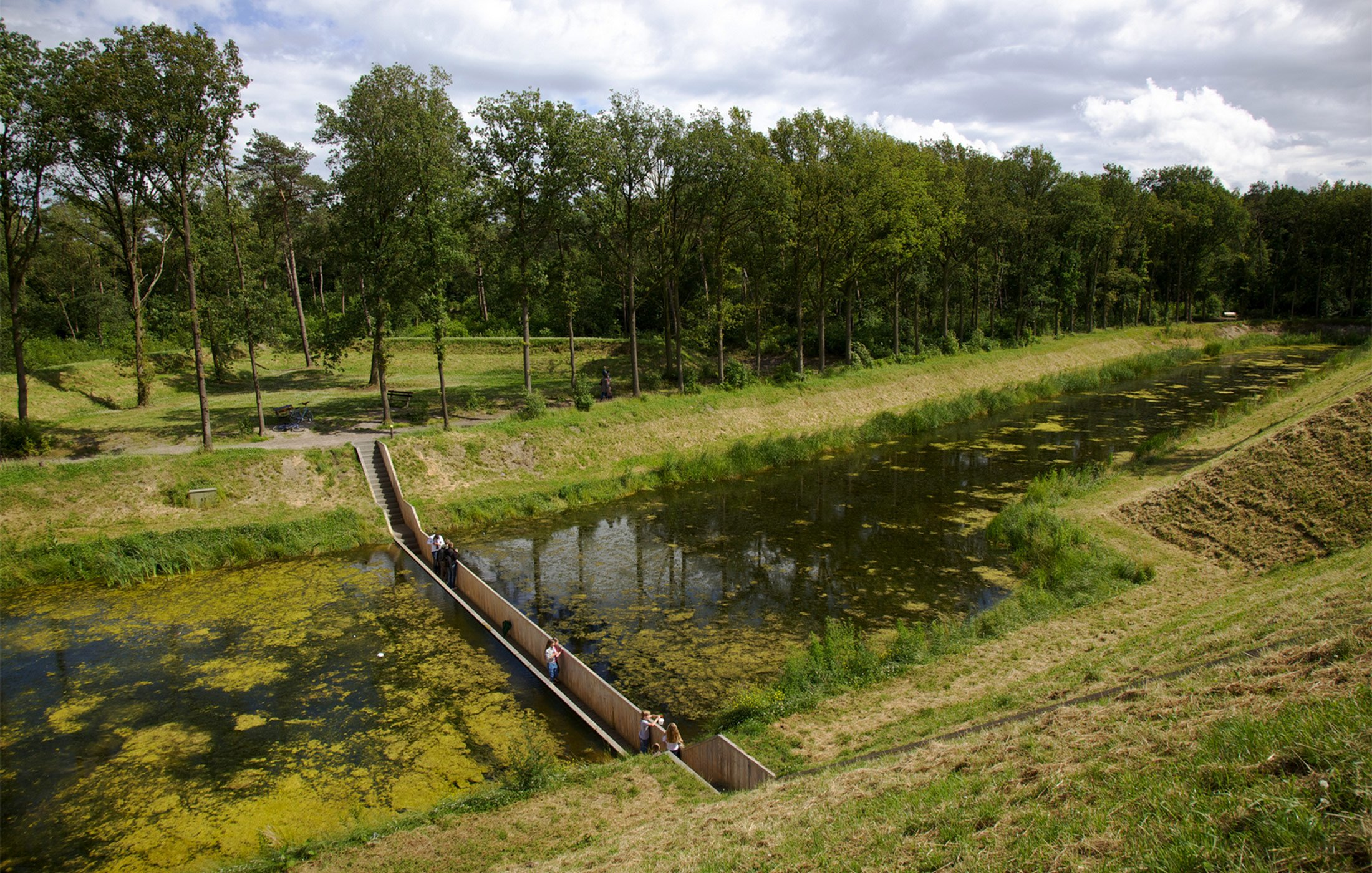 Full width image of Moses bridge, the Netherlands.
