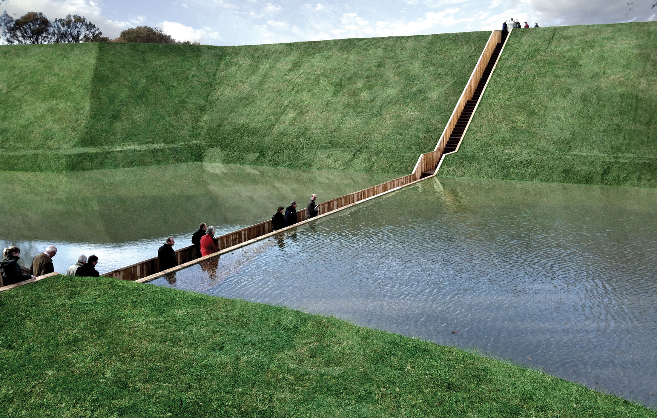 Moses bridge, the Netherlands uses accoya wood to part the water.