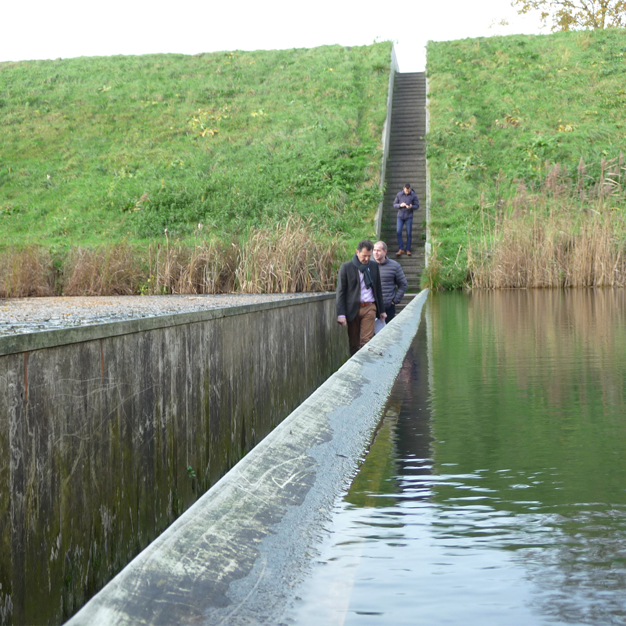 Moses bridge made from Accoya in the Netherlands at water level