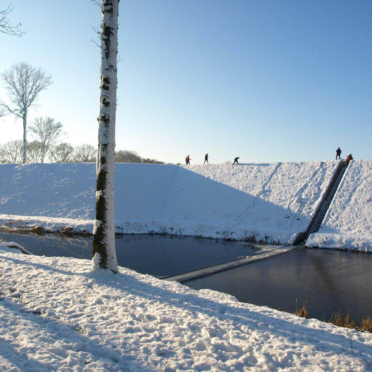 The Moses Bridge in a snowy landscape