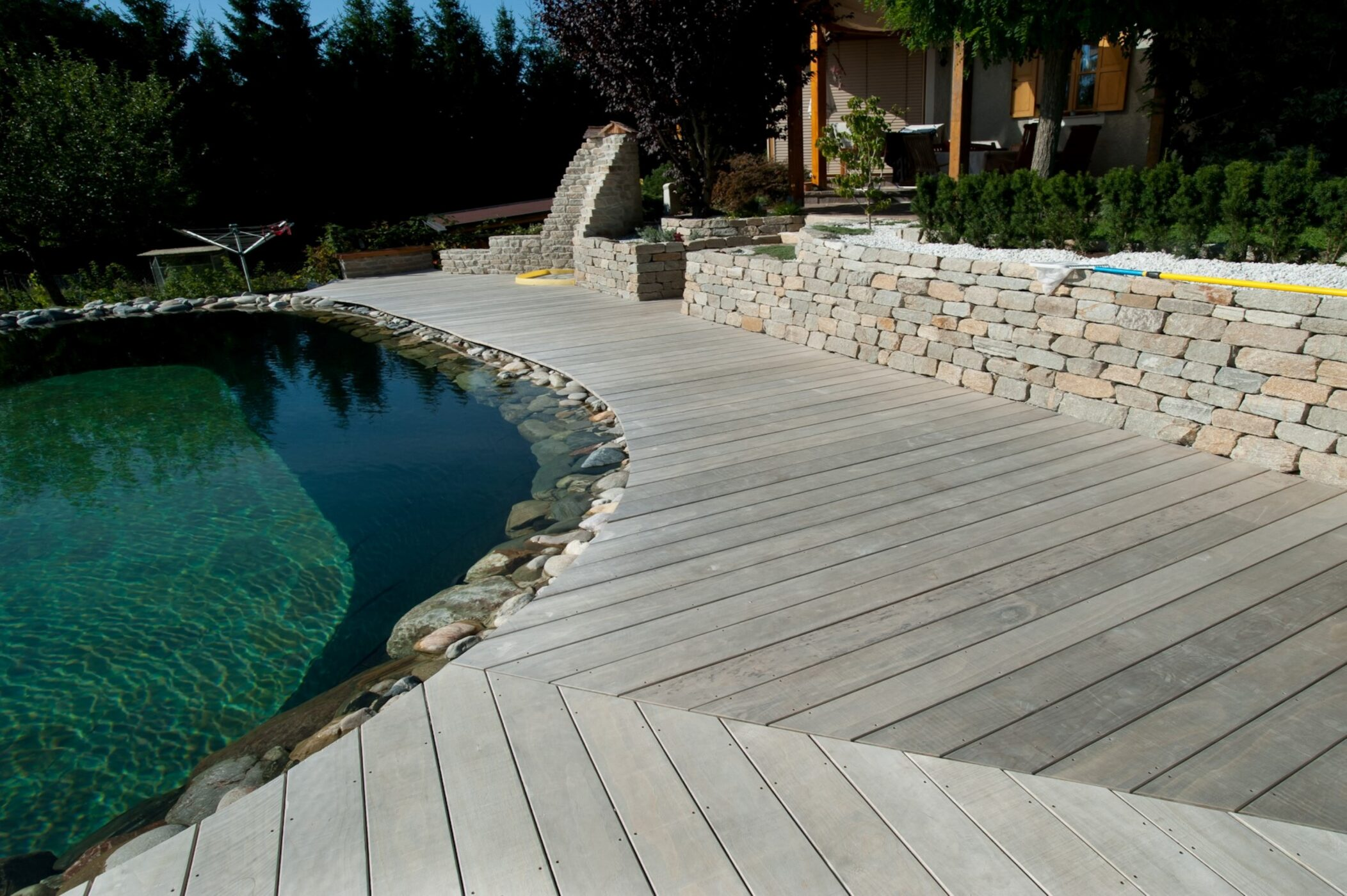 Natural pool surrounded by curvy wood decking
